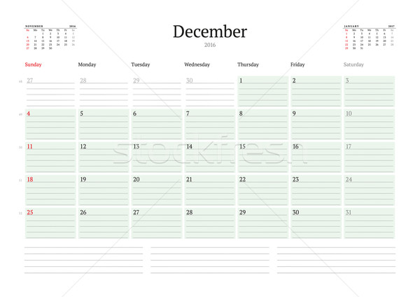 Monthly Calendar Planner 2016. Vector Design Print Template. December. Week Starts Sunday Stock photo © mikhailmorosin