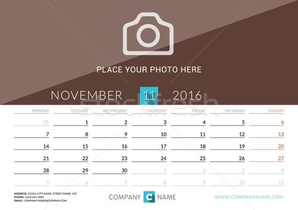 Desk Calendar 2016. Vector Print Template. November. Week Starts Monday Stock photo © mikhailmorosin