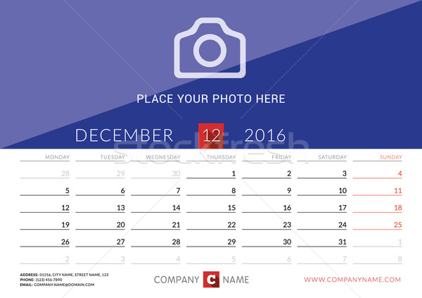 Desk Calendar 2016. Vector Print Template. December. Week Starts Monday Stock photo © mikhailmorosin