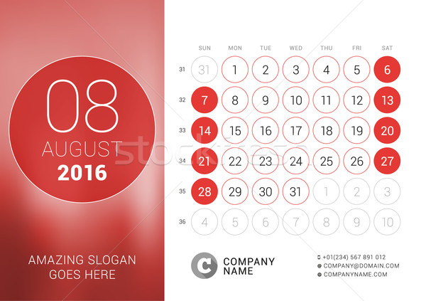 Agosto 2016 escritorio calendario año vector Foto stock © mikhailmorosin