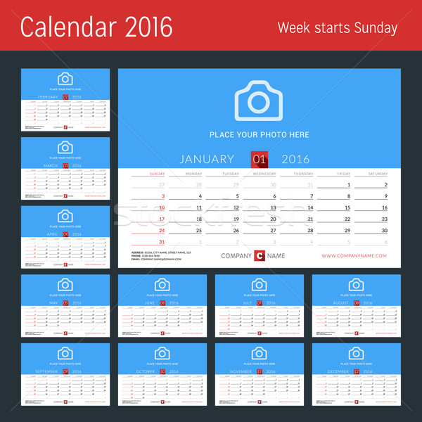 Desk Calendar for 2016 Year. Vector Design Print Template with Place for Photo. Set of 12 Months. We Stock photo © mikhailmorosin