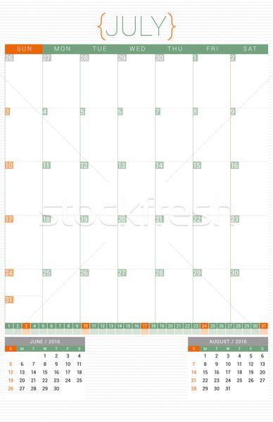 Calendar Planner 2016 Design Template. July. Week Starts Sunday Stock photo © mikhailmorosin