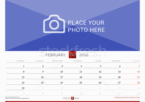 Wall Monthly Calendar for 2016 Year. Vector Design Print Template. Week Starts Monday. Landscape Ori Stock photo © mikhailmorosin