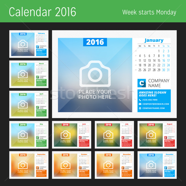 Desk Calendar for 2016 Year. Vector Design Print Template with Place for Photo, Logo and Contact Inf Stock photo © mikhailmorosin