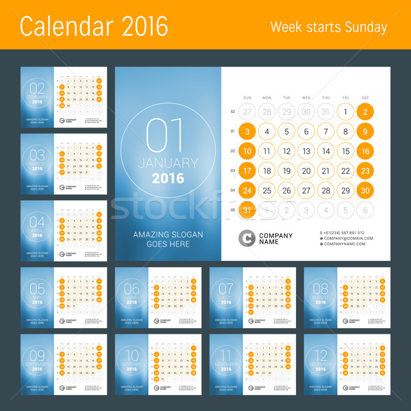 Stock photo: Calendar for 2016 Year. Vector Design Print Template. Week Starts Sunday. Calendar Grid with Week Nu