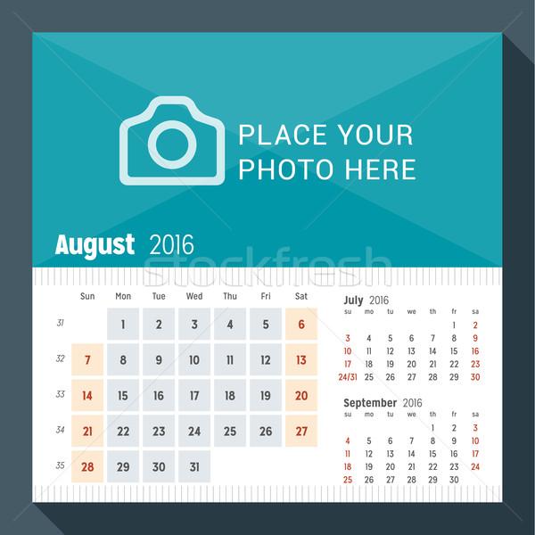 Stock fotó: Augusztus · 2016 · asztal · naptár · év · hét