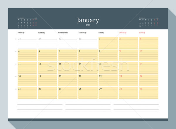 Stock photo: January 2016. Monthly Calendar Planner for 2016 Year. Vector Design Print Template. Week Starts Mond