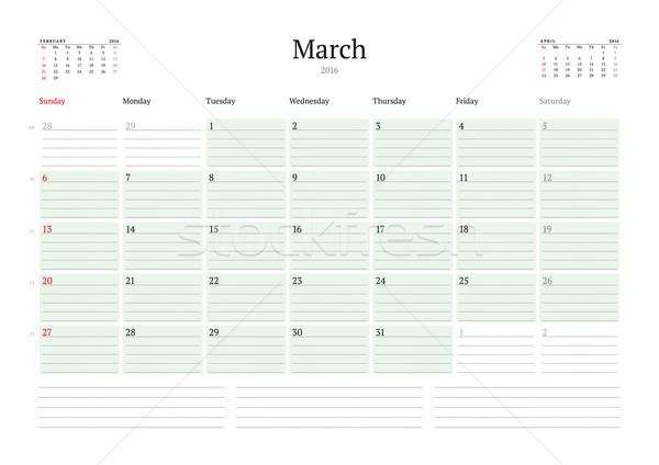 Mensal calendário 2016 vetor projeto Foto stock © mikhailmorosin