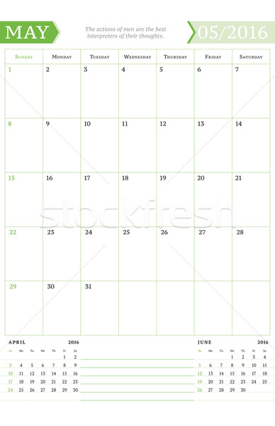 2016 aylık takvim yıl vektör Stok fotoğraf © mikhailmorosin