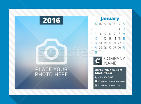 January 2016. Desk Calendar for 2016 Year. Vector Design Print Template with Place for Photo, Logo a Stock photo © mikhailmorosin