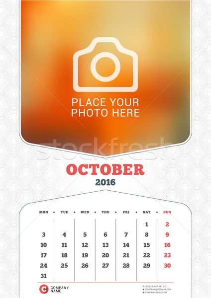 October 2016. Wall Monthly Calendar for 2016 Year. Vector Design Print Template with Place for Photo Stock photo © mikhailmorosin