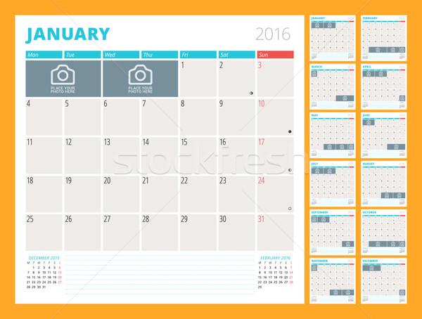 Mensal calendário 2016 ano conjunto Foto stock © mikhailmorosin