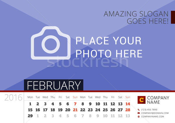 Stock photo: Desk Calendar 2016 Year. Vector Design Print Template with Place for Photo. February. Week Starts Mo
