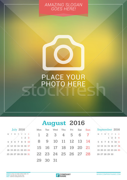 Agosto 2016 pared mensual calendario año Foto stock © mikhailmorosin