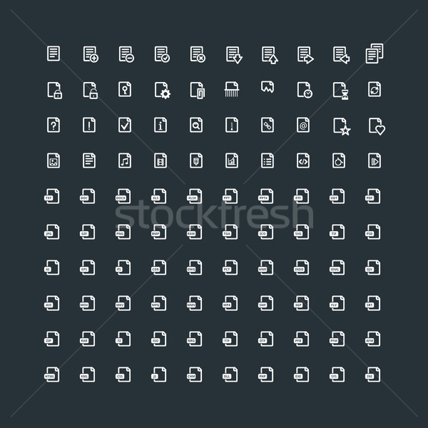 Set of 100 Document Icons. File Extension. File Types. Operations with Documents Stock photo © mikhailmorosin