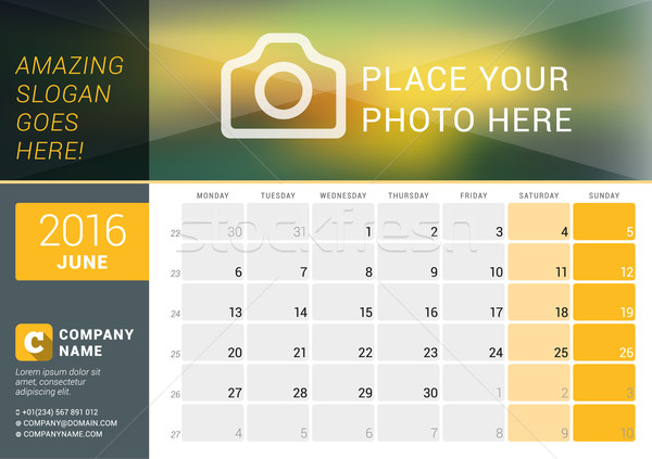 June 2016. Desk Calendar for 2016 Year. Vector Design Print Template with Place for Photo, Logo and  Stock photo © mikhailmorosin