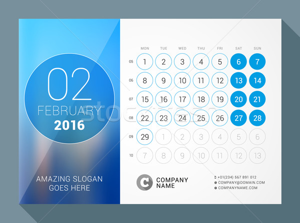 February 2016. Desk Calendar for 2016 Year. Vector Design Print Template with Place for Photo and Ci Stock photo © mikhailmorosin