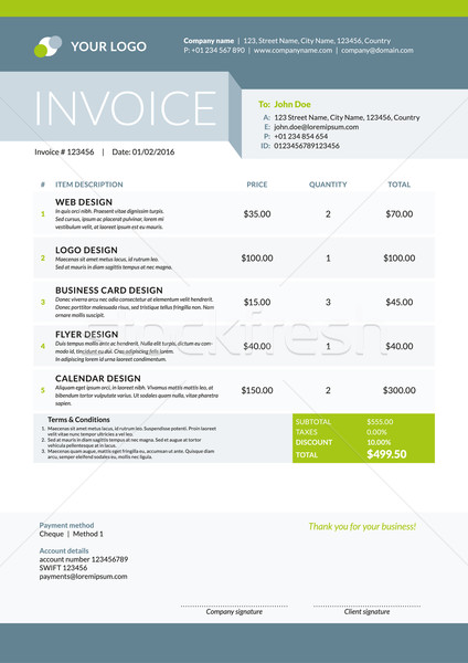 Business Invoice Template. Vector Illustration. Stationery Design Stock photo © mikhailmorosin