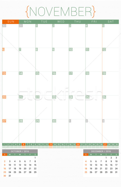 Calendar Planner 2016 Design Template. November. Week Starts Sunday Stock photo © mikhailmorosin