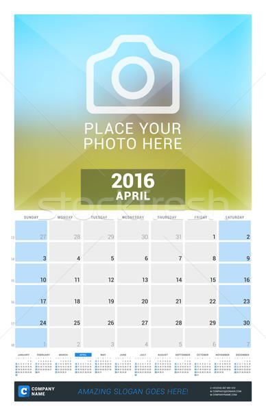 Stock photo: April 2016. Wall Monthly Calendar for 2016 Year. Vector Design Print Template with Place for Photo a
