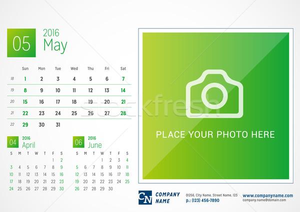 Desk Calendar 2016. Vector Print Template. May. Week Starts Sunday Stock photo © mikhailmorosin