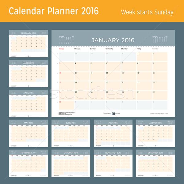 Stock fotó: Naptár · tervező · 2016 · év · vektor · terv