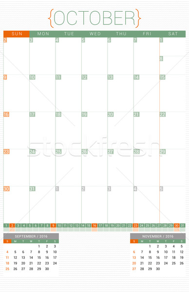 Calendar Planner 2016 Design Template. October. Week Starts Sunday Stock photo © mikhailmorosin