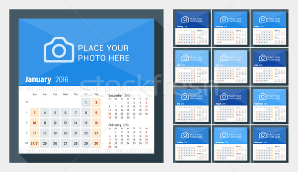 Desk Calendar for 2016 Year. Week Starts Sunday. 3 Months on Page. Set of 12 Months. Vector Design P Stock photo © mikhailmorosin
