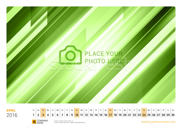 Wall Monthly Line Calendar for 2016 Year. Vector Design Print Template. Landscape Orientation. April Stock photo © mikhailmorosin