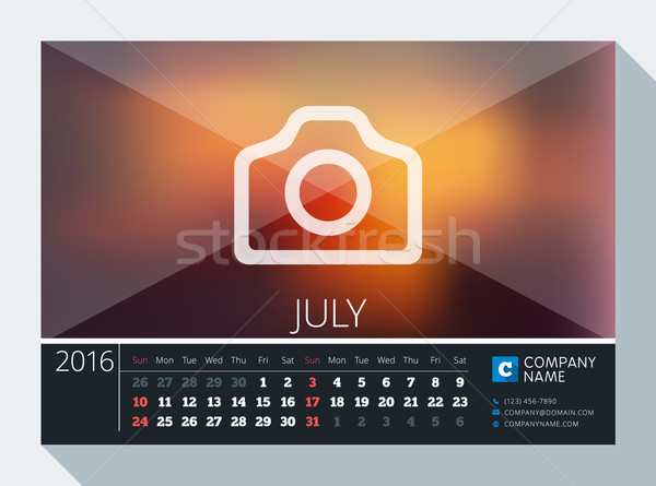 July 2016. Vector Stationery Design. Print Template. Desk Calendar for 2016 Year. Place for Photo, L Stock photo © mikhailmorosin