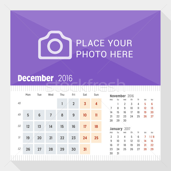 December 2016. Desk Calendar for 2016 Year. Week Starts Monday. 3 Months on Page. Vector Design Prin Stock photo © mikhailmorosin