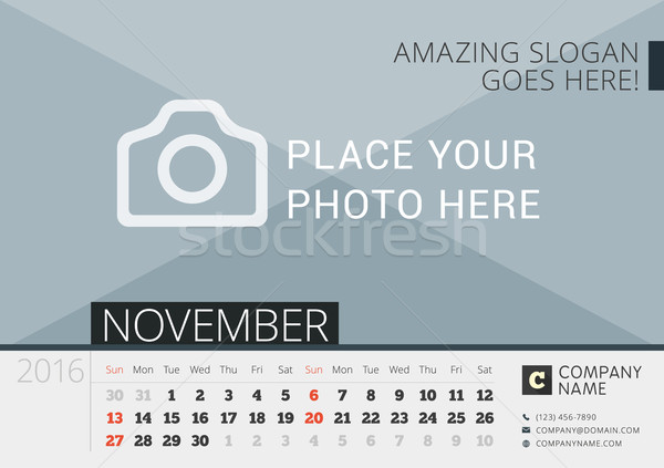 Desk Calendar 2016. Vector Print Template with Place for Photo. November. Week Starts Sunday Stock photo © mikhailmorosin