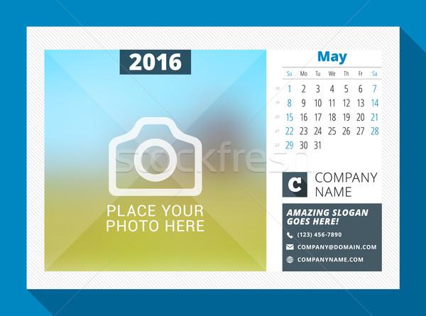Foto stock: 2016 · secretária · calendário · ano · vetor · projeto