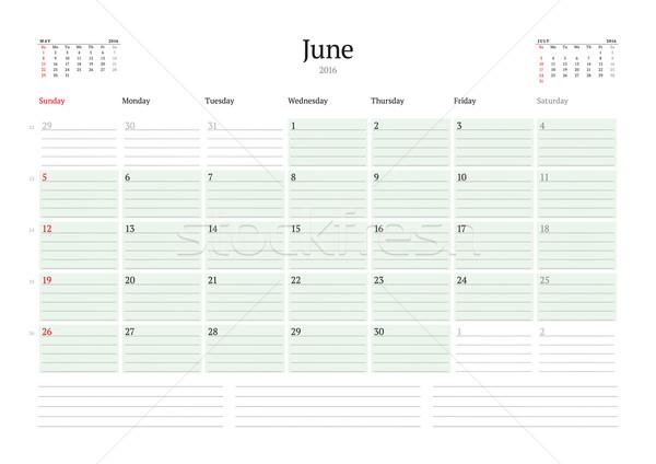 Stock fotó: Havi · naptár · tervező · 2016 · vektor · terv