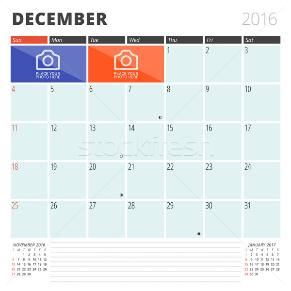 Calendar Planner 2016 Design Template with Place for Photos and Notes. December. Week Starts Sunday Stock photo © mikhailmorosin