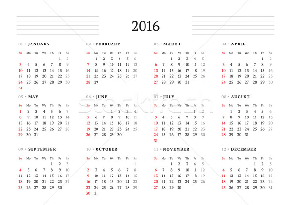 Calendar 2016. Vector Print Template. 12 Months. Week Starts Sunday Stock photo © mikhailmorosin