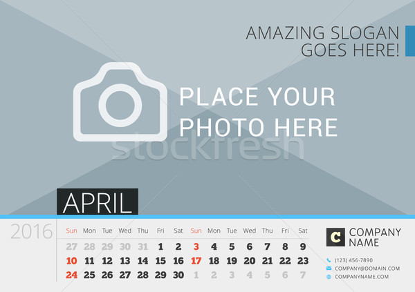 Desk Calendar 2016. Vector Print Template with Place for Photo. April. Week Starts Sunday Stock photo © mikhailmorosin