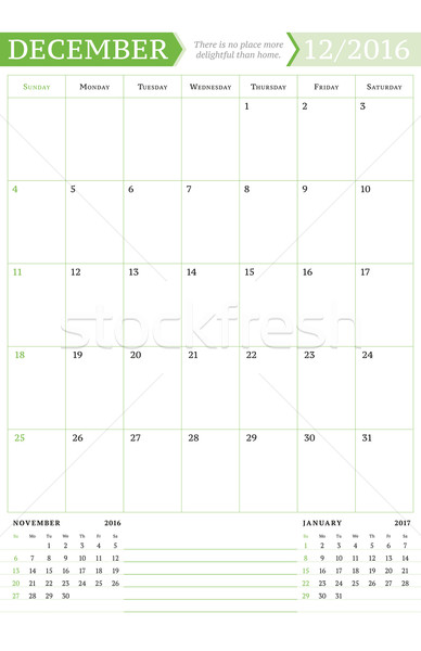 December 2016. Monthly Calendar Planner for 2016 Year. Vector Design Print Template with Place for N Stock photo © mikhailmorosin