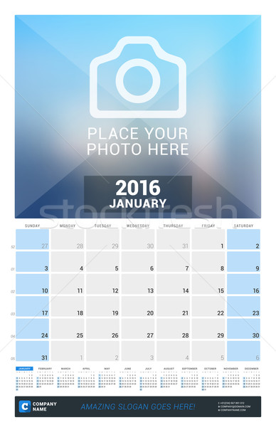 January 2016. Wall Monthly Calendar for 2016 Year. Vector Design Print Template with Place for Photo Stock photo © mikhailmorosin