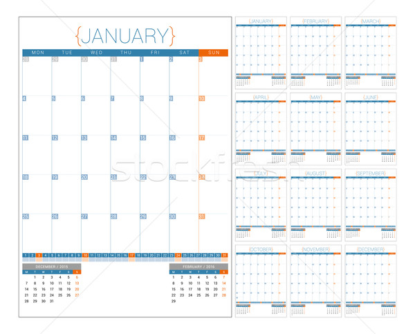 Stock photo: Calendar Planner 2016 Design Template. Set of 12 Months. Week Starts Monday