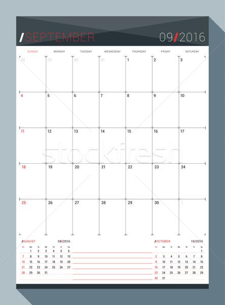 Foto stock: 2016 · vetor · projeto · imprimir · modelo · mensal