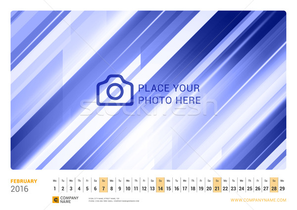 Wall Monthly Line Calendar for 2016 Year. Vector Design Print Template. Landscape Orientation. Febru Stock photo © mikhailmorosin