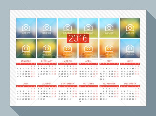 Takvim 2016 yıl vektör dizayn baskı Stok fotoğraf © mikhailmorosin