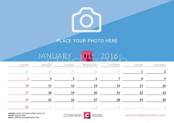 Desk Calendar 2016. Vector Print Template. January. Week Starts Sunday Stock photo © mikhailmorosin