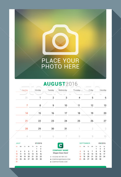 August 2016. Wall Monthly Calendar for 2016 Year. Vector Design Print Template with Place for Photo. Stock photo © mikhailmorosin