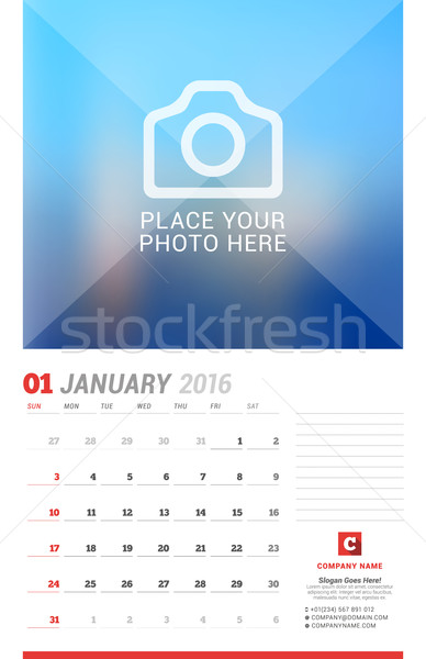 Wall Calendar Planner for 2016 Year. Vector Design Print Template with Place for Photo, Notes and Co Stock photo © mikhailmorosin