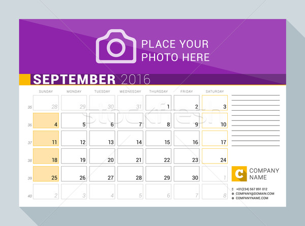 Calendar Planner for 2016 Year. September. Vector Print Template with Place for Photo, Logo and Cont Stock photo © mikhailmorosin