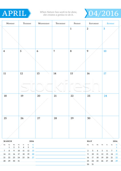 Stock photo: April 2016. Monthly Calendar Planner for 2016 Year. Vector Design Print Template with Place for Note
