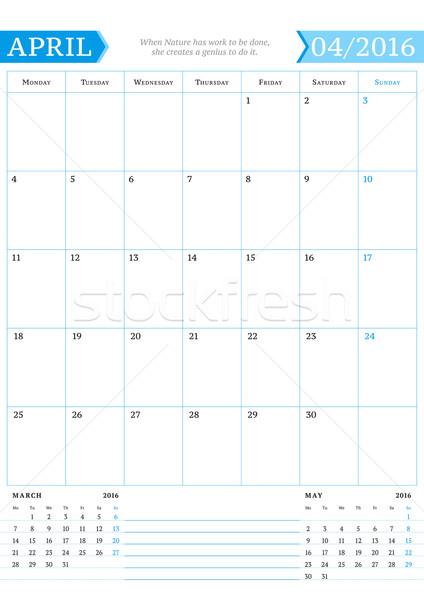 Stock fotó: 2016 · havi · naptár · tervező · év · vektor