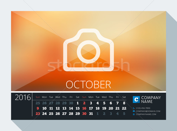 Stock photo: October 2016. Vector Stationery Design. Print Template. Desk Calendar for 2016 Year. Place for Photo